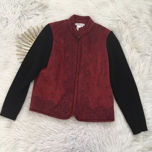 Coldwater Creek Red Embroidered Faux Suede Jacket